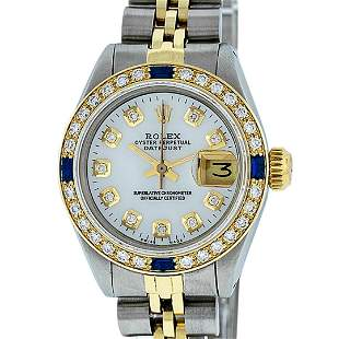 Rolex Ladies Two Tone MOP Diamond & Sapphire Oyster