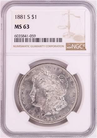 1881-S $1 Morgan Silver Dollar Coin NGC MS63 Nice
