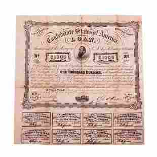 1863 $1,000 Confederate Bond Obsolete Sheet Printed on
