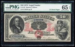 1874 $50 Legal Tender Note Fr.152 PMG Gem Uncirculated
