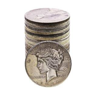 Lot of (20) $1 Peace Silver Dollar Coins