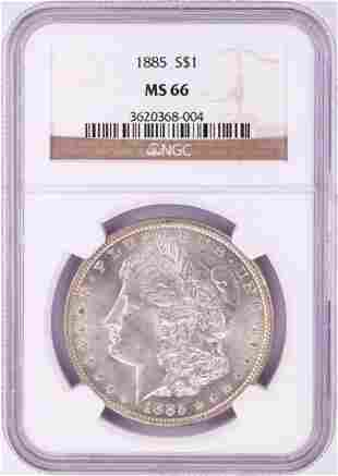 1885 $1 Morgan Silver Dollar Coin NGC MS66