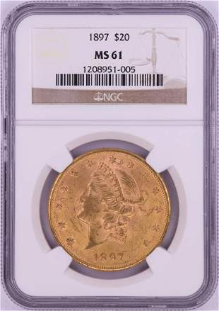 1897 $20 Liberty Head Double Eagle Gold Coin NGC MS61