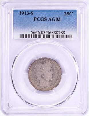 1913-S Barber Quarter Coin PCGS AG03