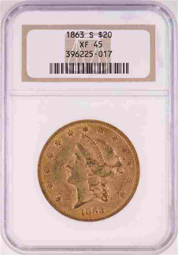 1863-S $20 Liberty Head Double Eagle Gold Coin NGC XF45