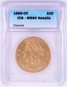 1889-CC $20 Liberty Head Double Eagle Gold Coin ICG MS