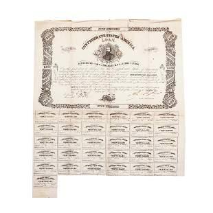 1862 $500 Confederate Bond Obsolete Sheet B-127