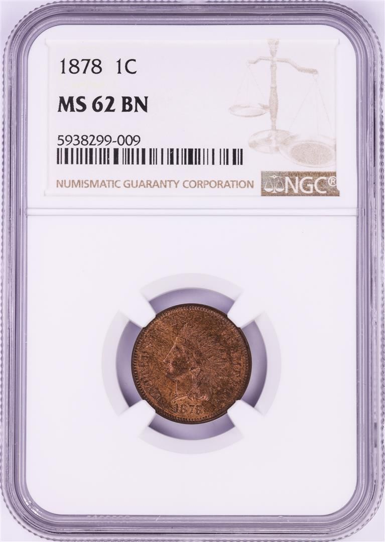 1878 Indian Head Cent Coin NGC MS62 BN