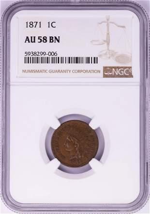 1871 Indian Head Cent Coin NGC AU58 BN