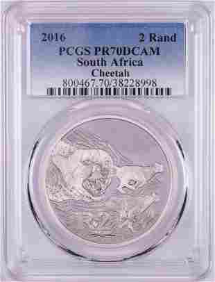 2016 Proof South Africa 2 Rand Cheetah Silver Coin PCGS