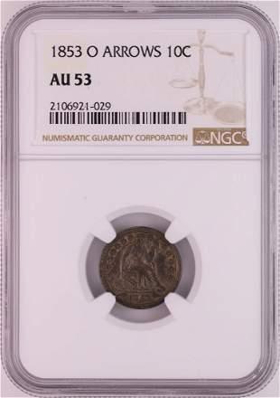 1853-O Arrows Seated Liberty Half Dime Coin NGC AU53