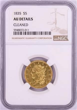 1835 $5 Classic Head Half Eagle Gold Coin NGC AU