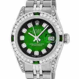 Rolex Ladies Stainless Steel Green Vignette Diamond &