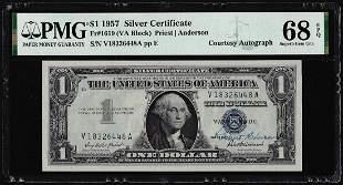 1957 $1 Funnyback Silver Certificate Note w/ Courtesy