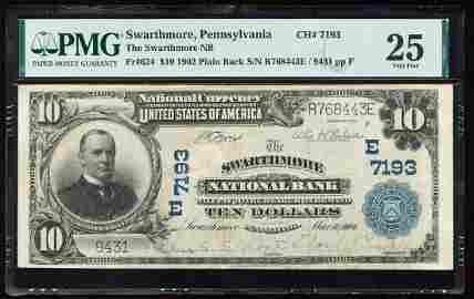 1902PB $10 Swarthmore NB, PA CH# 7193 National Currency