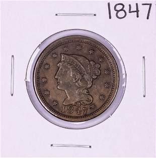 1847 Braided Hair Large Cent Coin