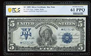 1899 $5 Indian Chief Silver Certificate Star Note