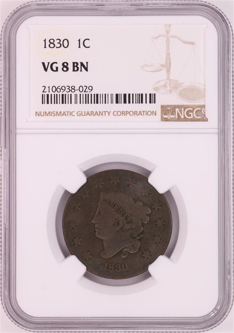 1830 Coronet Head Large Cent Coin NGC VG8BN