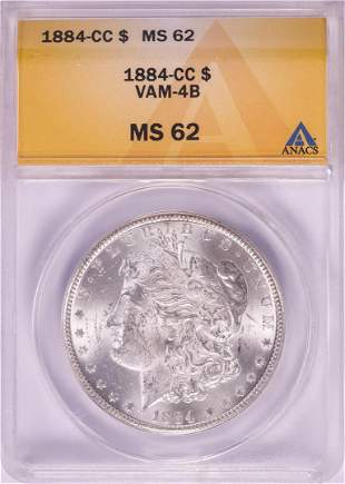 1884-CC $1 Morgan Silver Dollar Coin ANACS MS62 VAM-4B