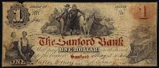1860 $1 The Sanford Bank Sanford, ME Obsolete Banknote