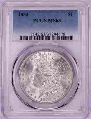 1883 $1 Morgan Silver Dollar Coin PCGS MS63