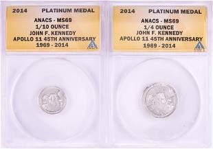 Set of 2014 Proof 1/10 & 1/4 oz Platinum JFK Apollo 11