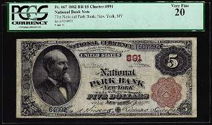 1882BB $5 Park Bank of New York, NY CH# 891 National