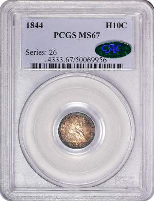 1844 Seated Liberty Half Dime Coin Arrows PCGS MS67 CAC