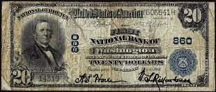 1902 PB $20 First NB of Washington, New Jersey CH# 860