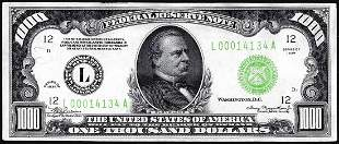 1934 $1,000 Federal Reserve Note San Francisco Light