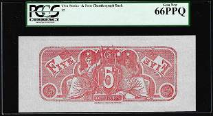 $5 Chemicograph Back Confederate Currency Note PCGS Gem