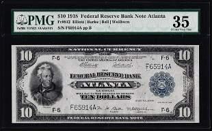 1918 $10 Federal Reserve Note Atlanta Fr.812 PMG Choice