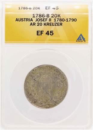 1786-B Austria Josef II AR 20 Kreuzer Coin ANACS XF45