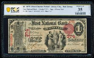 First Charter 1875 $1 Jersey City, NJ CH# 374 National