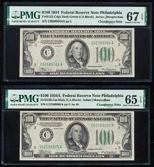 Changeover Pair of 1934 $100 Federal Reserve Notes PMG