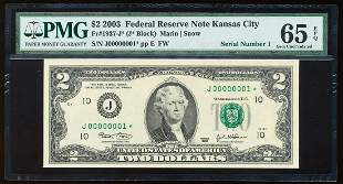 Serial Number 1 - 2003 $2 Federal Reserve Star Note