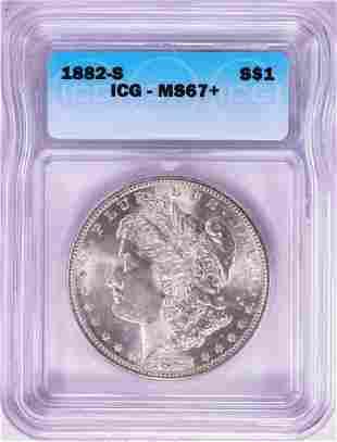 1882-S $1 Morgan Silver Dollar Coin ICG MS67+