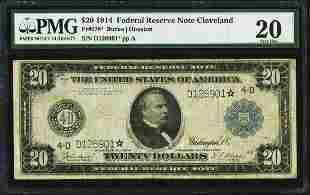 1914 $20 Federal Reserve STAR Note Cleveland Fr.978*