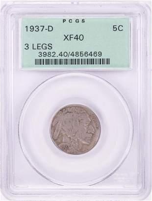 1937-D 3 Legged Buffalo Nickel Coin PCGS XF40 Old Green