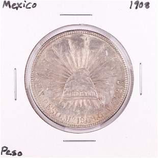 1908 Mexico Un Peso Silver Coin