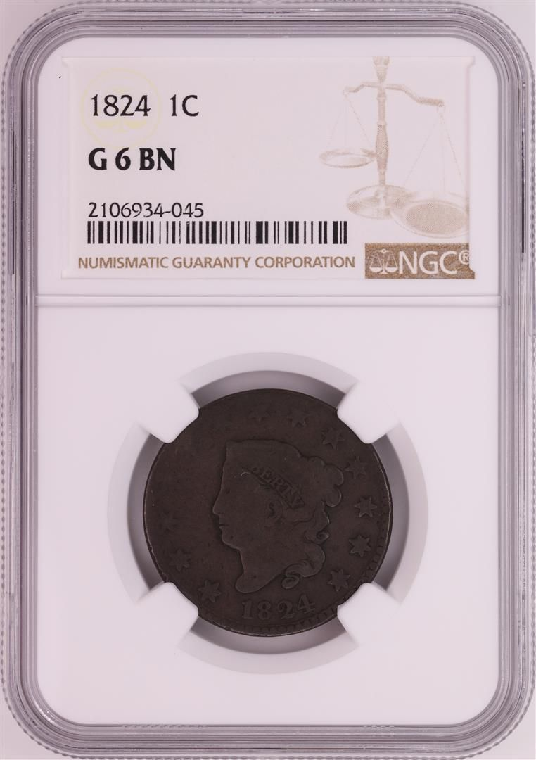 1824 Coronet Head Large Cent Coin NGC G6BN