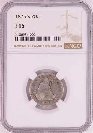 1875-S Twenty Cent Piece Coin NGC F15