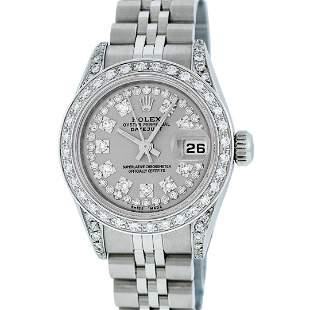 Rolex Ladies Stainless Steel Diamond Quickset Oyster