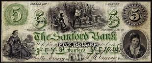1861 $5 The Sanford Bank Sanford, ME Obsolete Banknote