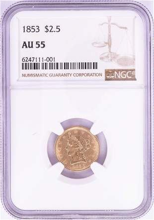 1853 $2 1/2 Liberty Head Quarter Eagle Gold Coin NGC
