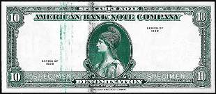 1929 Ten Unit American Bank Note Company Test Note