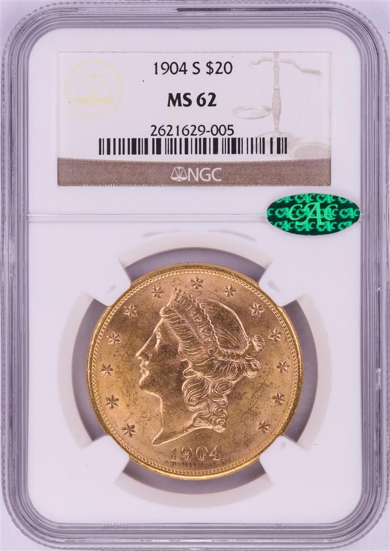 1904-S $20 Liberty Head Double Eagle Gold Coin NGC MS62