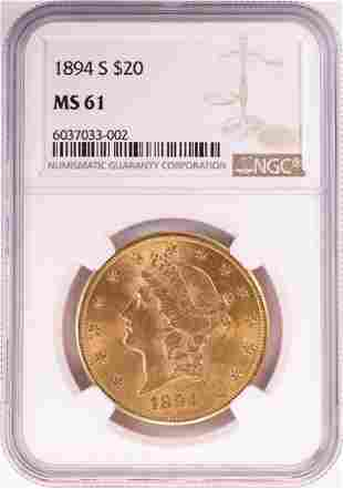 1894-S $20 Liberty Head Double Eagle Gold Coin NGC MS61