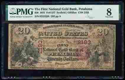 1875 $20 First National Gold Bank Petaluma, CA CH# 2193