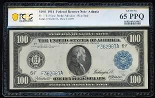 1914 $100 Federal Reserve Note Atlanta Fr.1104 PCGS Gem